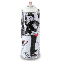 "Mr. Brainwash Signed ""Pup Art (White)"" Limited Edition Hand Painted Spray Can #125/150 with Thumbprint at PristineAuction.com"