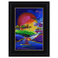 "Peter Max Signed ""Without Borders II"" 35x47 Custom Framed One-Of-A-Kind Acrylic Mixed Media at PristineAuction.com"