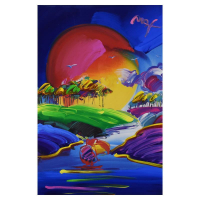 """Peter Max Signed """"Without Borders II"""" 35x47 Custom Framed One-Of-A-Kind Acrylic Mixed Media at PristineAuction.com"""
