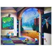 """Ferjo Signed """"Magritte's Garden View"""" 36x48 Original Painting on Canvas at PristineAuction.com"""