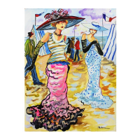 """Patricia Govezensky Signed """"French Party"""" 14x11 Original Watercolor at PristineAuction.com"""