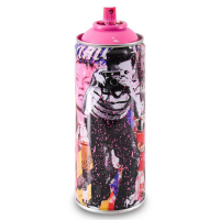 """Mr. Brainwash Signed """"Smile - Full (Pink)"""" Limited Edition Hand Painted Spray Can #125/200 with Thumbprint at PristineAuction.com"""