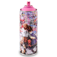 """Mr. Brainwash Signed """"Work Well Together (Pink)"""" Limited Edition Hand Painted Spray Can #125/150 with Thumbprint at PristineAuction.com"""