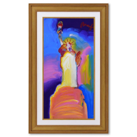 """Peter Max Signed """"Statue of Liberty"""" 27x45 Custom Framed One-Of-A-Kind Acrylic Mixed Media at PristineAuction.com"""