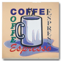 """Steve Kaufman Signed """"ESPRESSO"""" Limited Edition 25x25 Hand Pulled Silkscreen Mixed Media on Canvas at PristineAuction.com"""