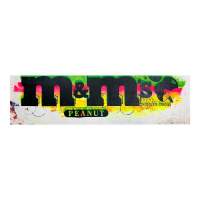 """Steve Kaufman Signed """"M&Ms Peanut"""" Limited Edition 14x49 Hand Pulled Silkscreen Mixed Media on Canvas at PristineAuction.com"""