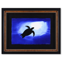 """Wyland Signed """"Turtle Shadow"""" 34x26 Custom Framed Original Watercolor Painting at PristineAuction.com"""