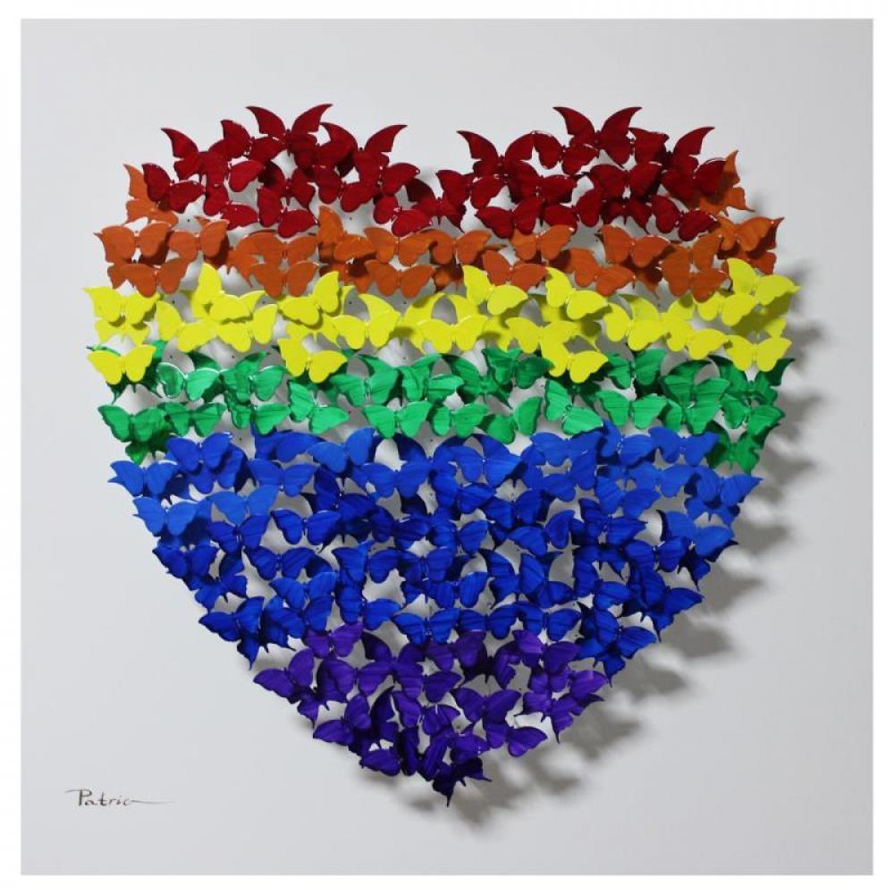 "Patricia Govezensky Signed ""Heart"" 20x20 Original 3D Metal Art on Wood at PristineAuction.com"