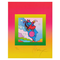 """Peter Max Signed """"Woodstock Profile on Blends"""" Limited Edition 23x26 Custom Framed Lithograph #498/500 at PristineAuction.com"""