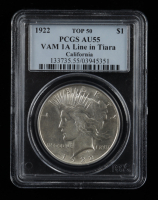 1922 Peace Silver Dollar VAM-1A Line in Tiara Top 50 - California Collection (PCGS AU55) at PristineAuction.com