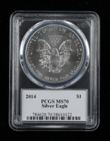 2014 American Silver Eagle $1 One Dollar Coin - Gary Whitley Signed Label (PCGS MS70) at PristineAuction.com