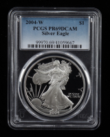 2004-W American Silver Eagle $1 One Dollar Coin (PCGS PR69 Deep Cameo) at PristineAuction.com