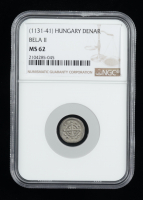 """Bela II """"the Blind King"""" (1131-1141) Silver Denar - Coin of the Medieval Crusades (NGC MS62) at PristineAuction.com"""