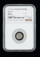 """Bela II """"the Blind King"""" (1131-1141) Silver Denar - Coin of the Medieval Crusades (NGC MS61) at PristineAuction.com"""