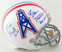 "Bruce Matthews & Mike Munchak Signed Oilers Full-Size Helmet Inscribed ""HOF 2001"" & ""HOF 2007"" (JSA COA) at PristineAuction.com"