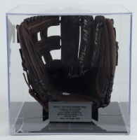 Nolan Ryan Signed Rawlings Baseball Glove With (4) Career Stat Inscriptions in Display Case (PSA COA) at PristineAuction.com
