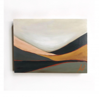 """Kobie Moore Signed """"Abstract Landscape"""" 9x12 Acrylic on Cradled Birch at PristineAuction.com"""