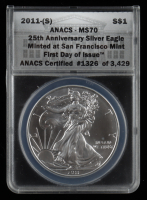 2011-(S) American Silver Eagle $1 One Dollar Coin - Struck at San Francisco, First Day of Issue (ANACS MS70) at PristineAuction.com