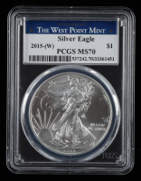 2015-(W) American Silver Eagle $1 One Dollar Coin - First Strike, Struck at West Point Mint Label (PCGS MS70) at PristineAuction.com