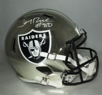 Jerry Rice Signed Raiders Full-Size Chrome Speed Helmet (Beckett COA) at PristineAuction.com