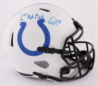 "Quenton Nelson Signed Colts Lunar Eclipse Alternate Full-Size Speed Helmet Inscribed ""1st Rd Pick"" (JSA COA) at PristineAuction.com"