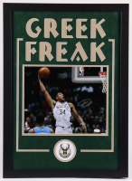 Giannis Antetokounmpo Signed Bucks 19.5x27 Custom Framed Photo Display (JSA COA) at PristineAuction.com