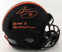 "Jarvis Landry Signed Browns Full-Size Authentic On-Field Eclipse Alternate Speed Helmet Inscribed ""Welcome To The Dawg Pound"" (Beckett COA) (See Description) at PristineAuction.com"