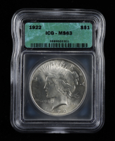 1922 Peace Silver Dollar (ICG MS63) at PristineAuction.com