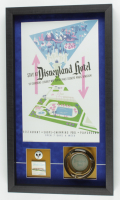 "Disneyland's ""Disneyland Hotel"" 15x26 Print Display with Vintage Match Book, Ash Tray & Employee Lapel Pin at PristineAuction.com"