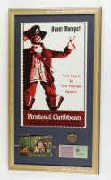 "Disneyland's ""Pirates of the Caribbean"" 15x26 Print Display with Vintage Ride Pin, Vintage Postcard & Vintage Disney Coupon Book at PristineAuction.com"