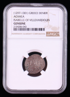 Isabelle of Villehardouin (1297-1301 AD) Crusader States Frankish Greece, Achaea AR Medieval Silver Denier (NGC Encapsulated) at PristineAuction.com
