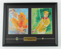 "Leroy Neiman ""Arnold Palmer & Jack Nicklaus"" 15x19 Custom Framed Print Display with Official Masters & PGA at Riviera Pins at PristineAuction.com"