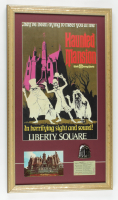 """Custom framed 26""""x15"""" """"The Haunted Mansion"""" Print with Metal Ride Label Pin, Souvenir Postcards & Disney World """"E"""" Ticket. at PristineAuction.com"""
