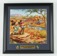 """Thomas Kinkade """"Mickey & Minnie Mouse"""" 16x16 Custom Framed Print Display with Set of (2) Pins at PristineAuction.com"""