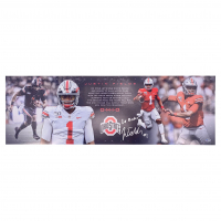 "Justin Fields Signed Ohio State Buckeyes 12x36 Poster Inscribed ""Go Bucks!"" (Beckett COA) at PristineAuction.com"