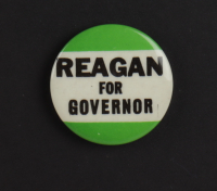 Ronald Reagan 16x19 Custom Framed Photo Display with 1976 Pre-Primary SLOCO BBQ Ticket, Vintage Lapel Pin & Original Campaign Bumper Sticker at PristineAuction.com