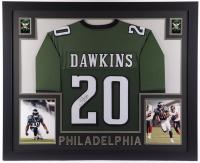 Brian Dawkins Signed 35x43 Custom Framed Jersey Display (JSA COA) at PristineAuction.com