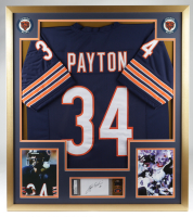 Walter Payton Signed 32x36 Custom Framed Cut Display with Jersey, Career Achievement Pin & Jersey Retirement Pin (PSA Encapsulated) at PristineAuction.com