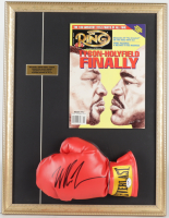 Mike Tyson Signed 17x22 Custom Framed Boxing Glove Display with Original Full Ring Magazine (PSA COA) at PristineAuction.com