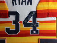 """Nolan Ryan Signed Astros 32x36 Custom Framed Jersey Display Inscribed """"100.7 M.P.H. Fastball"""" with Official 1999 Hall of Fame Induction Lapel Pin (PSA COA) (See Description) at PristineAuction.com"""