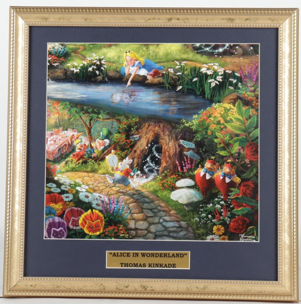 "Thomas Kinkade Walt Disney's ""Alice in Wonderland"" 16x16 Custom Framed Print Display at PristineAuction.com"