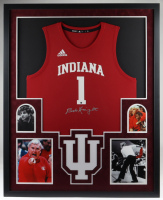 Bob Knight Signed Indiana Hoosiers 35x43 Custom Framed Jersey Display (Steiner Hologram) at PristineAuction.com