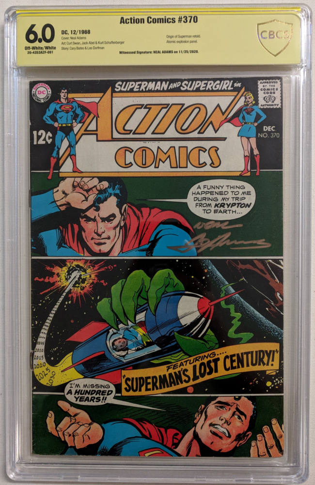 """Neal Adams signed 1968 """"Action Comics"""" Issue #370 DC Comic Book (CBCS Encapsulated - 6.0) at PristineAuction.com"""