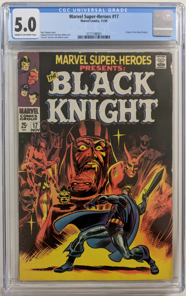 """1968 """"Marvel Super-Heroes"""" Issue #17 Marvel Comic Book (CGC 5.0) at PristineAuction.com"""