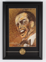 "LeRoy Neiman ""Frank Sinatra"" 12x18 Custom Framed Print Display with Vintage 1974 Frank Sinatra Opening Night Bronze Medallion at PristineAuction.com"