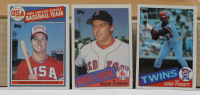 Complete Set of (792) 1985 Topps Baseball Cards with Kirby Puckett #536 RC, Mark McGwire 1985 Topps #401 Olympics RC, Roger Clemens 1985 Topps #181 RC with Card Box (See Desciption) at PristineAuction.com