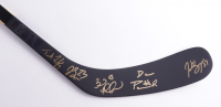 Bruins hockey Stick Signed by (5) with Trent Frederic, Brad Marchand, Patrice Bergeron, David Pastrnak & Jack Studnicka (YSMS COA) at PristineAuction.com