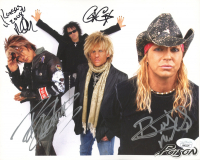 Poison 8x10 Photo Signed by (4) with Bret Michaels, C.C. DeVille, Rikki Rockett & Bobby Dall (JSA COA) at PristineAuction.com