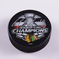 Patrick Sharp Signed 2015 Blackhawks Stanley Cup Champions Logo Hockey Puck (Beckett COA) at PristineAuction.com
