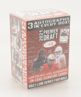 2021 Sage Hit Premier Draft Low Series Football Blaster Box with (63) Cards (See Description) at PristineAuction.com
